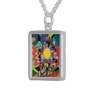 Abstract flower sterling silver necklace