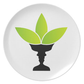 Abstract flower vase with illusion of two faces party plates