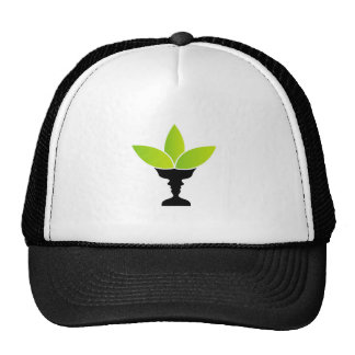 Abstract flower vase with illusion of two faces trucker hat