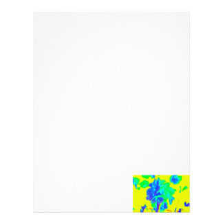 abstract flower yellow blue floral personalized letterhead