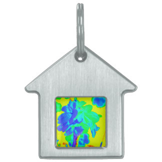 abstract flower yellow blue floral pet tag