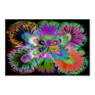 Abstract Flowered Butterfly Poster