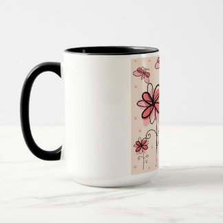 abstract flowers and butterflies mug