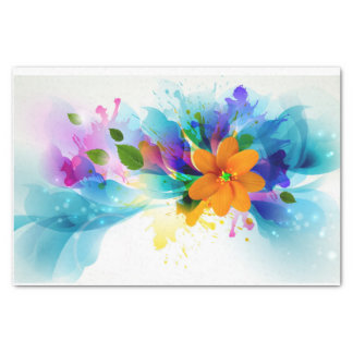 Abstract Flowers and Clouds - Tissue Paper