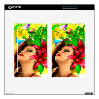 Abstract Flowers and Girl Kindle Fire Decal