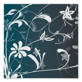 Abstract Flowers and Swirls Print