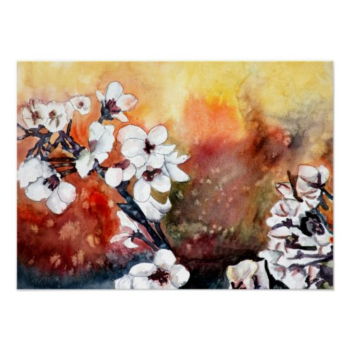 abstract flowers art print on canvas