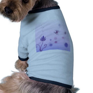 Abstract Flowers Blue Butterfly Doggie T Shirt