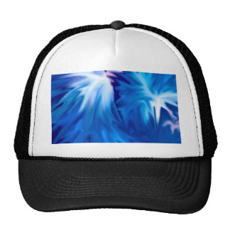 abstract flowers blue mesh hats