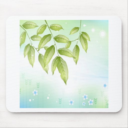 Abstract Flowers Blue Leaves Mousepads