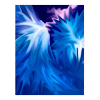 abstract flowers blue post card