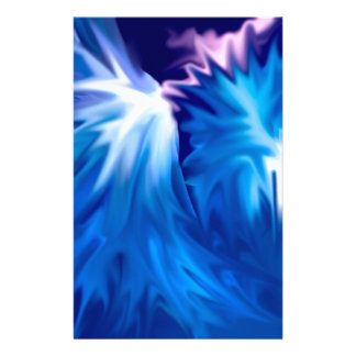 abstract flowers blue customized stationery