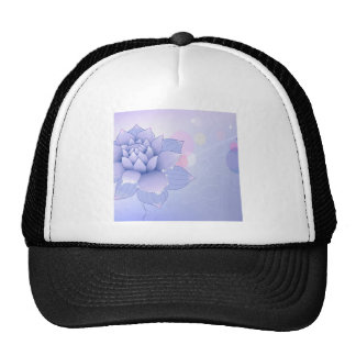 Abstract Flowers Blue Water Lilly Mesh Hats