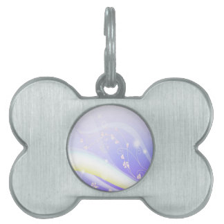 Abstract Flowers Blue Wave Pet Tag