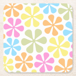 Abstract Flowers Bright Color Mix Square Paper Coaster