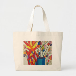 abstract flowers canvas bag