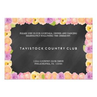 Abstract Flowers ChalkboardWedding Reception Card