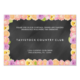 Abstract Flowers ChalkboardWedding Reception Card Invite