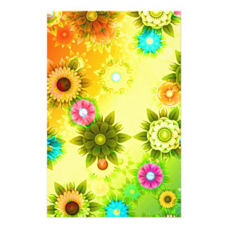 abstract Flowers Colorful Stationery