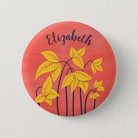 Abstract Flowers Coral Yellow Floral Art Name Button