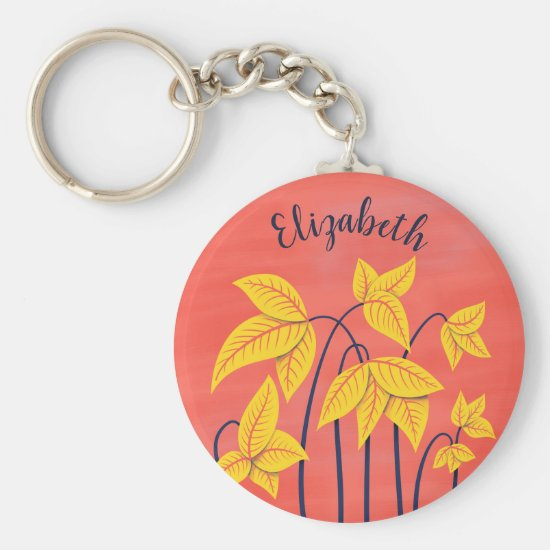 Abstract Flowers Coral Yellow Floral Art Name Keychain