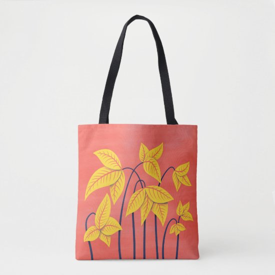 Abstract Flowers Coral Yellow Floral Art Name Tote Bag
