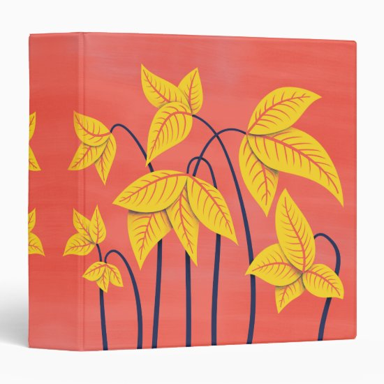 Abstract Flowers Coral Yellow Floral Geometric Art 3 Ring Binder