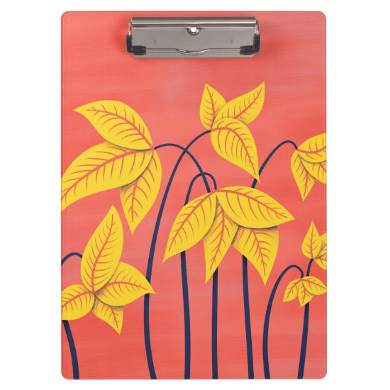 Abstract Flowers Coral Yellow Floral Geometric Art Clipboard