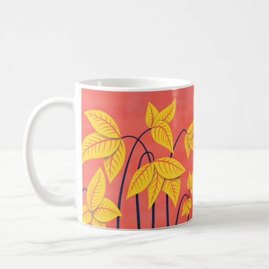 Abstract Flowers Coral Yellow Floral Geometric Art Coffee Mug