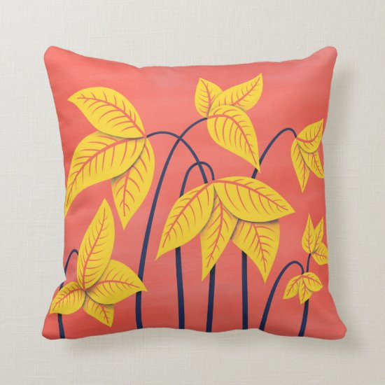 Abstract Flowers Coral Yellow Floral Geometric Art Throw Pillow