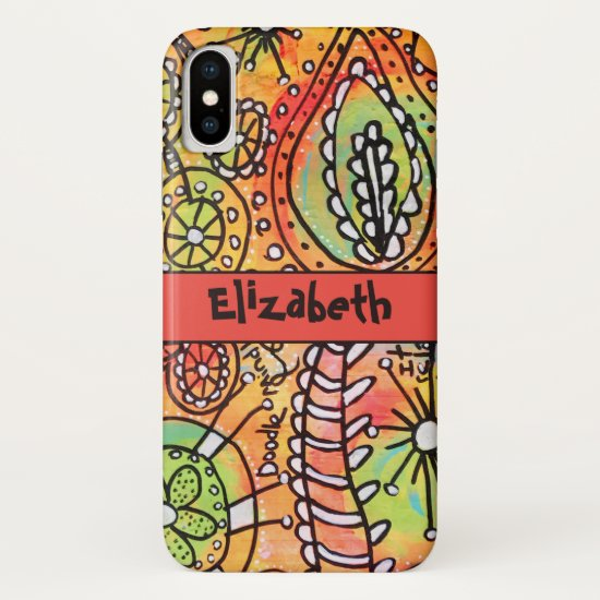 Abstract Flowers Doodles Orange Lime Green Black iPhone XS Case