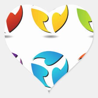 Abstract flowers heart sticker