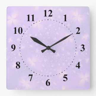 Abstract Flowers in Lilac and Pink Square Wallclocks