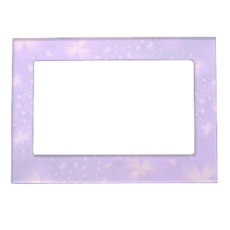 Abstract Flowers in Lilac and Pink Magnetic Photo Frame