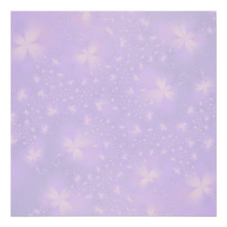 Abstract Flowers in Lilac and Pink Poster