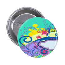 personalize, dooni designs, customize, abstract, splatter, swirls, colorful, clouds, sky, funky, retro, fun, swirly, bright, girly, Button with custom graphic design