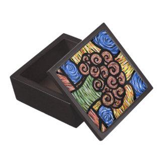 Abstract Flowers In Vase Keepsake Box
