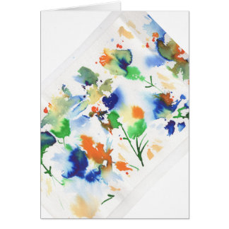 Abstract flowers in vibrant lime, cobalt, orange greeting card