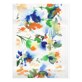 Abstract flowers in vibrant lime, cobalt, orange postcard
