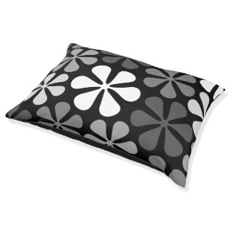 Abstract Flowers Monochrome Large Dog Bed