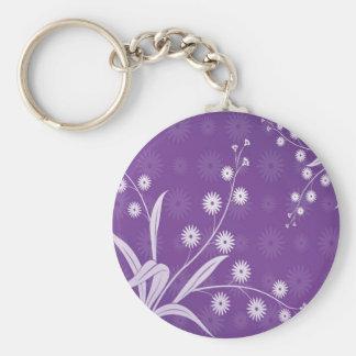 Abstract Flowers Purple Pattern Keychain