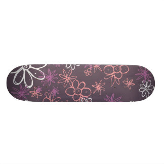 Abstract flowers Purple Skateboard