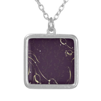 Abstract Flowers Purple Tulips Necklaces