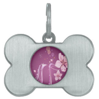 Abstract Flowers Purple Wave Pet Tags