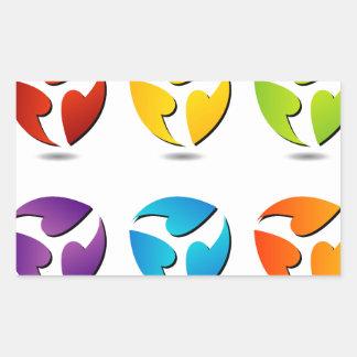 Abstract flowers rectangular sticker