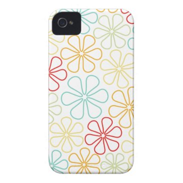 Abstract Flowers Red Yellow Orange Lime Teal White Case-Mate iPhone 4 Case