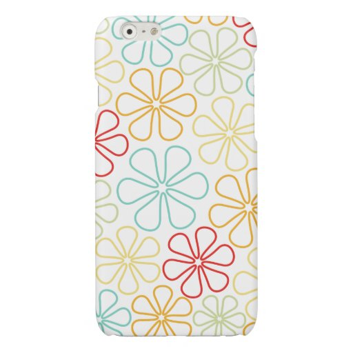 Abstract Flowers Red Yellow Orange Lime Teal White Glossy iPhone 6 Case
