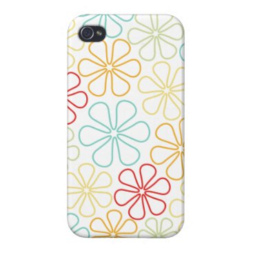 Abstract Flowers Red Yellow Orange Lime Teal White Case For iPhone 4