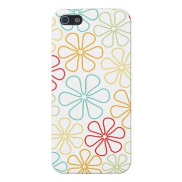 Abstract Flowers Red Yellow Orange Lime Teal White Case For iPhone SE/5/5s
