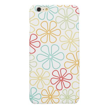 Abstract Flowers Red Yellow Orange Lime Teal White Glossy iPhone 6 Plus Case